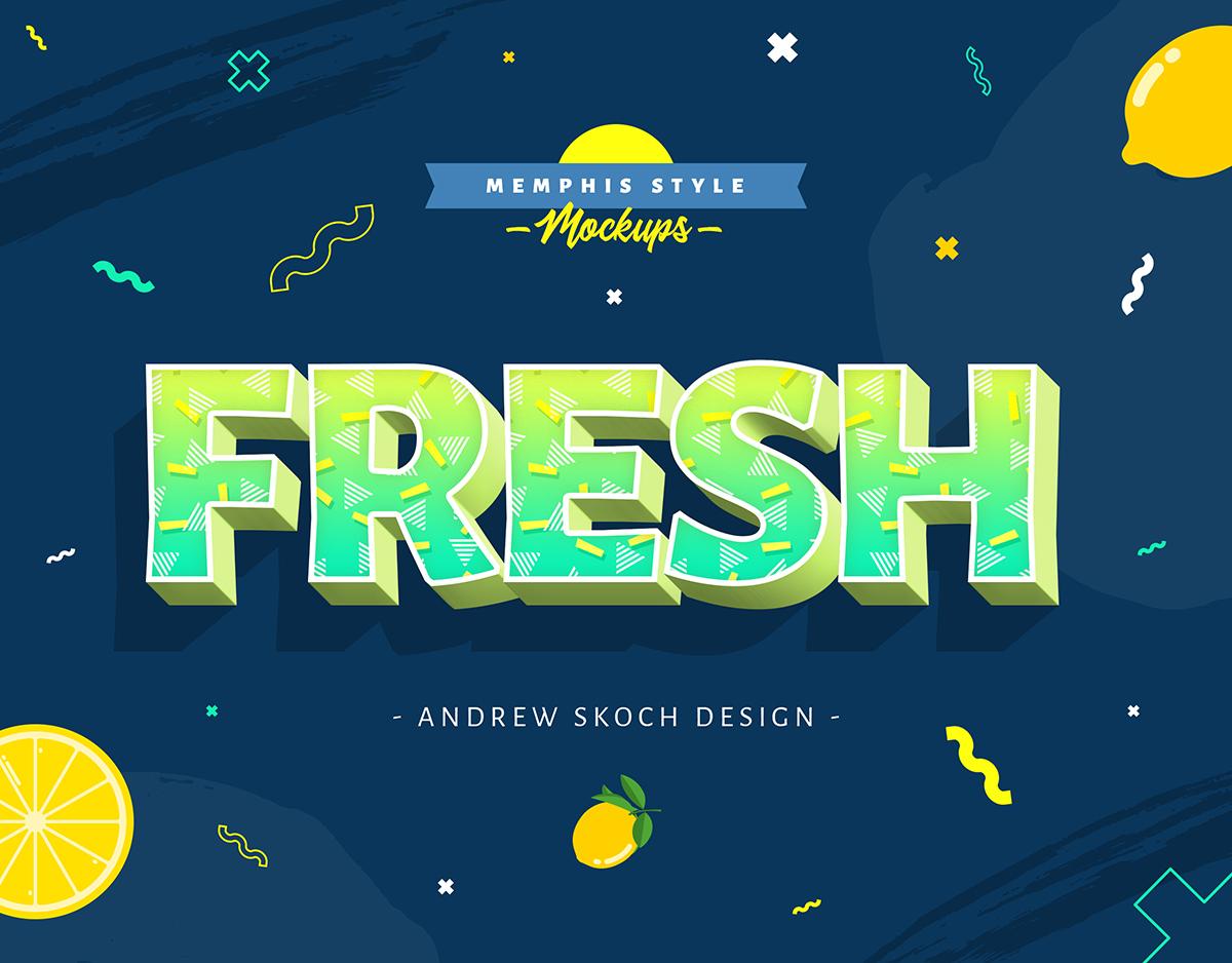 孟菲斯风格3D立体效果文本图层样式 Memphis Style – Text Effects插图(5)