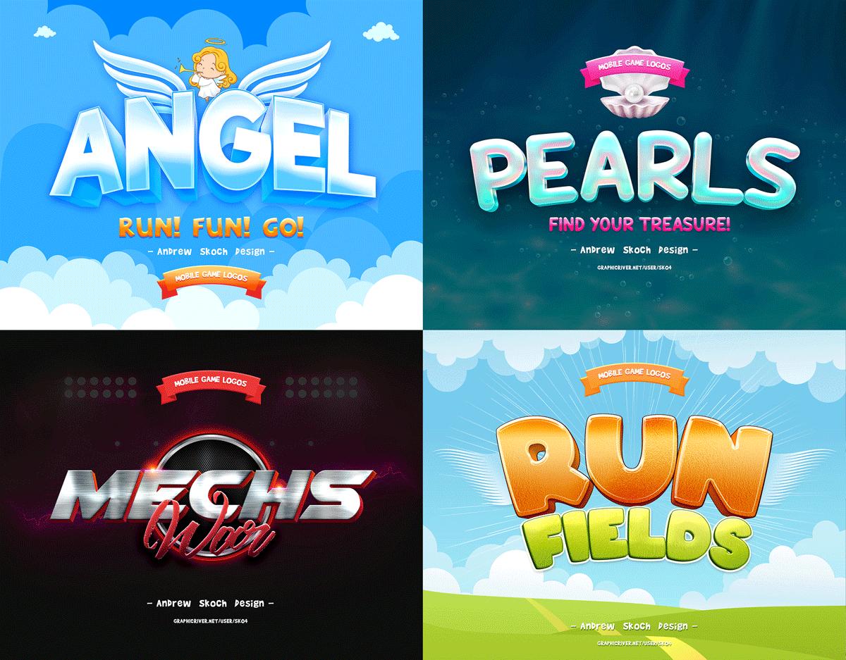 30个游戏标题海洋元素3D立体字体图层样式 Game Titles Bundle – 30 Text Effects插图(5)