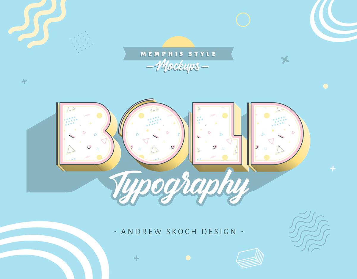 孟菲斯风格3D立体效果文本图层样式 Memphis Style – Text Effects插图(6)