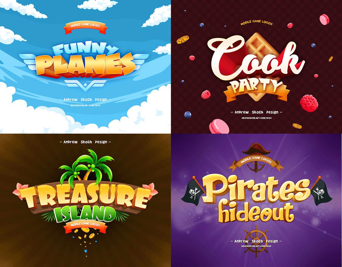 30个游戏标题海洋元素3D立体字体图层样式 Game Titles Bundle – 30 Text Effects插图(6)