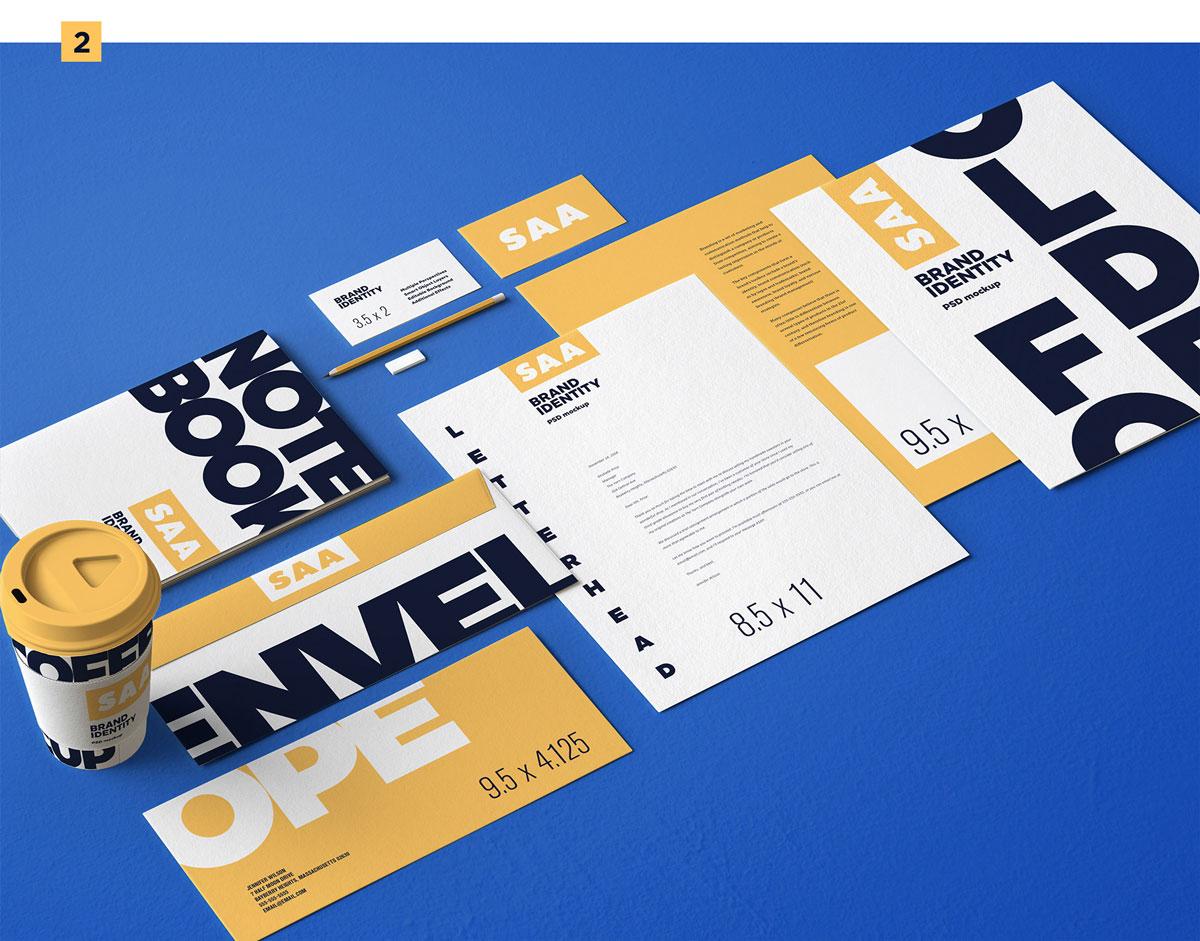 精选免费高品质品牌VI设计提案办公文创名片信纸展示样机 Identity Design Mockups Pack插图(2)