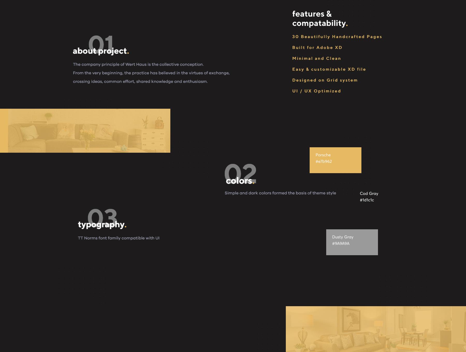 时尚简约建筑室内设计师电脑手机网站UI工具包  Werthaus Architecture UI Kit插图(1)
