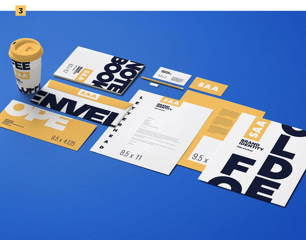 精选免费高品质品牌VI设计提案办公文创名片信纸展示样机 Identity Design Mockups Pack插图(3)