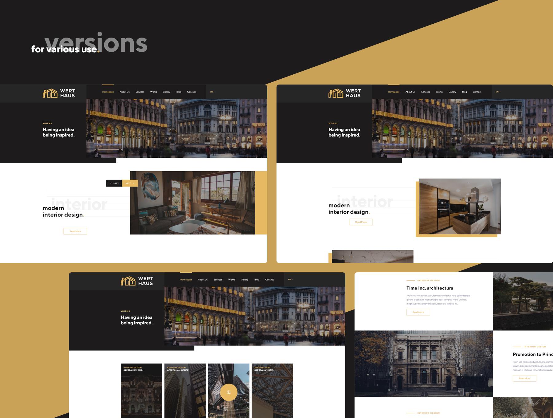 时尚简约建筑室内设计师电脑手机网站UI工具包  Werthaus Architecture UI Kit插图(3)