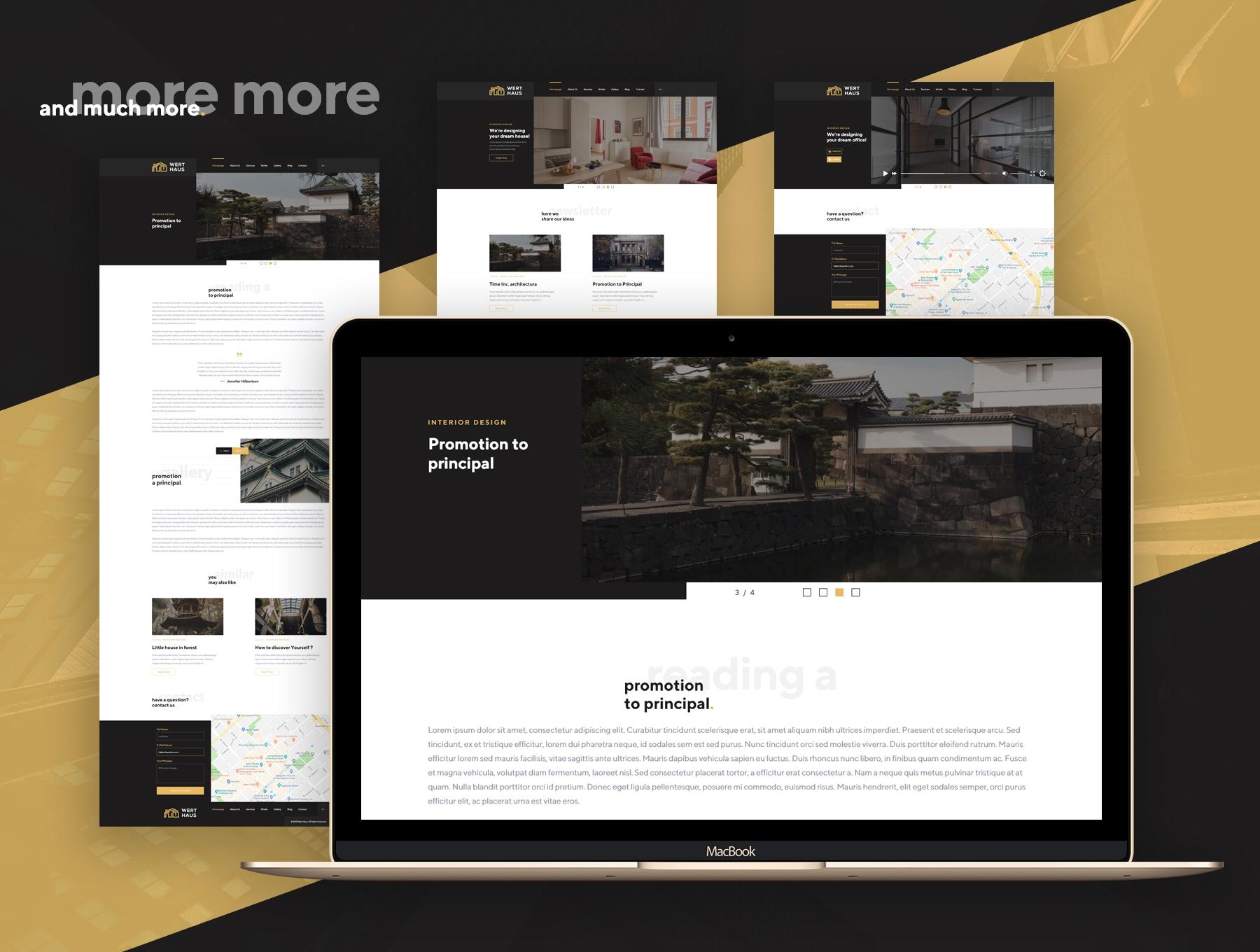 时尚简约建筑室内设计师电脑手机网站UI工具包  Werthaus Architecture UI Kit插图(5)
