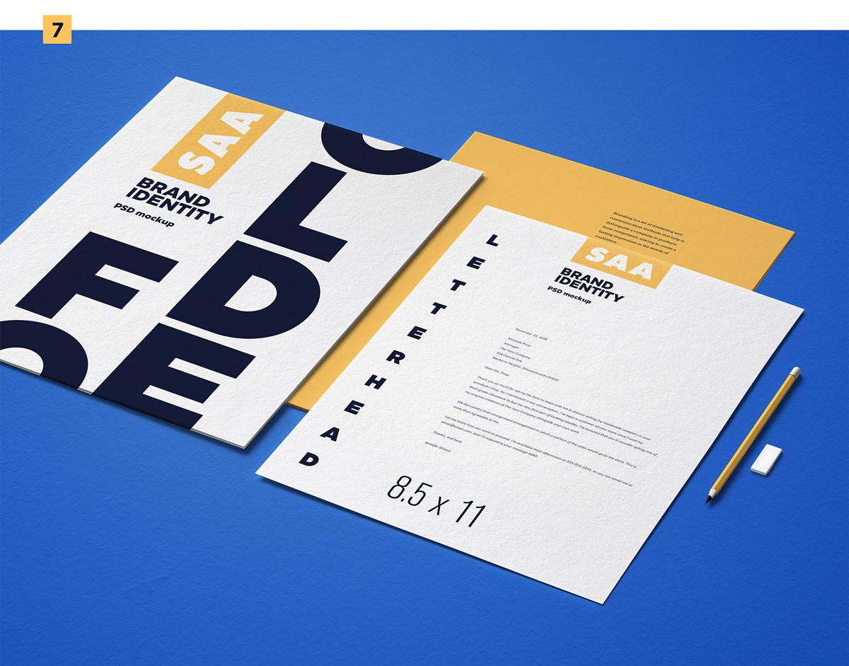 精选免费高品质品牌VI设计提案办公文创名片信纸展示样机 Identity Design Mockups Pack插图(7)