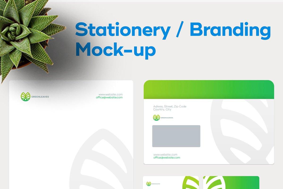 品牌VI设计提案办公文创信纸名片信封汽车展示样机 Stationery / Branding PSD Mock-Up插图