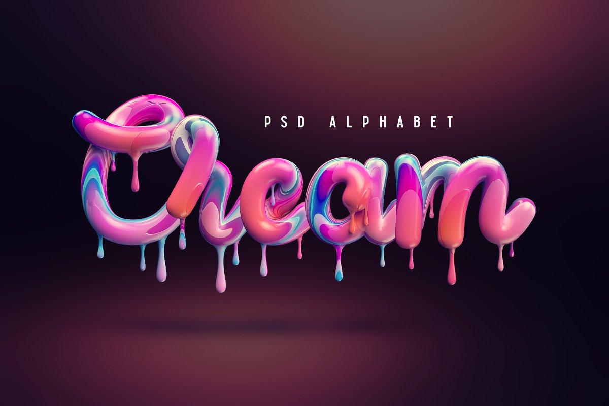 精选免费多彩融化的奶油3D立体效果字体PSD图层样式 Cream alphabet插图