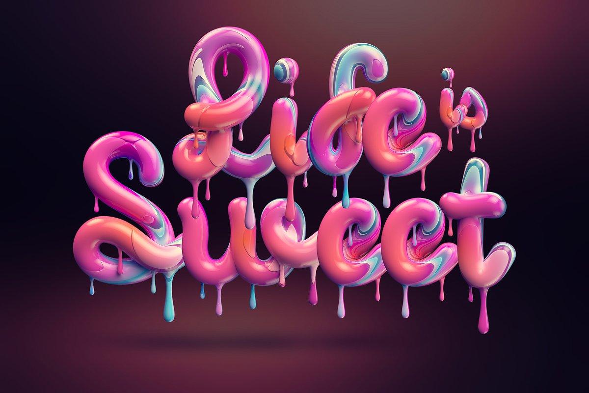 精选免费多彩融化的奶油3D立体效果字体PSD图层样式 Cream alphabet插图(2)