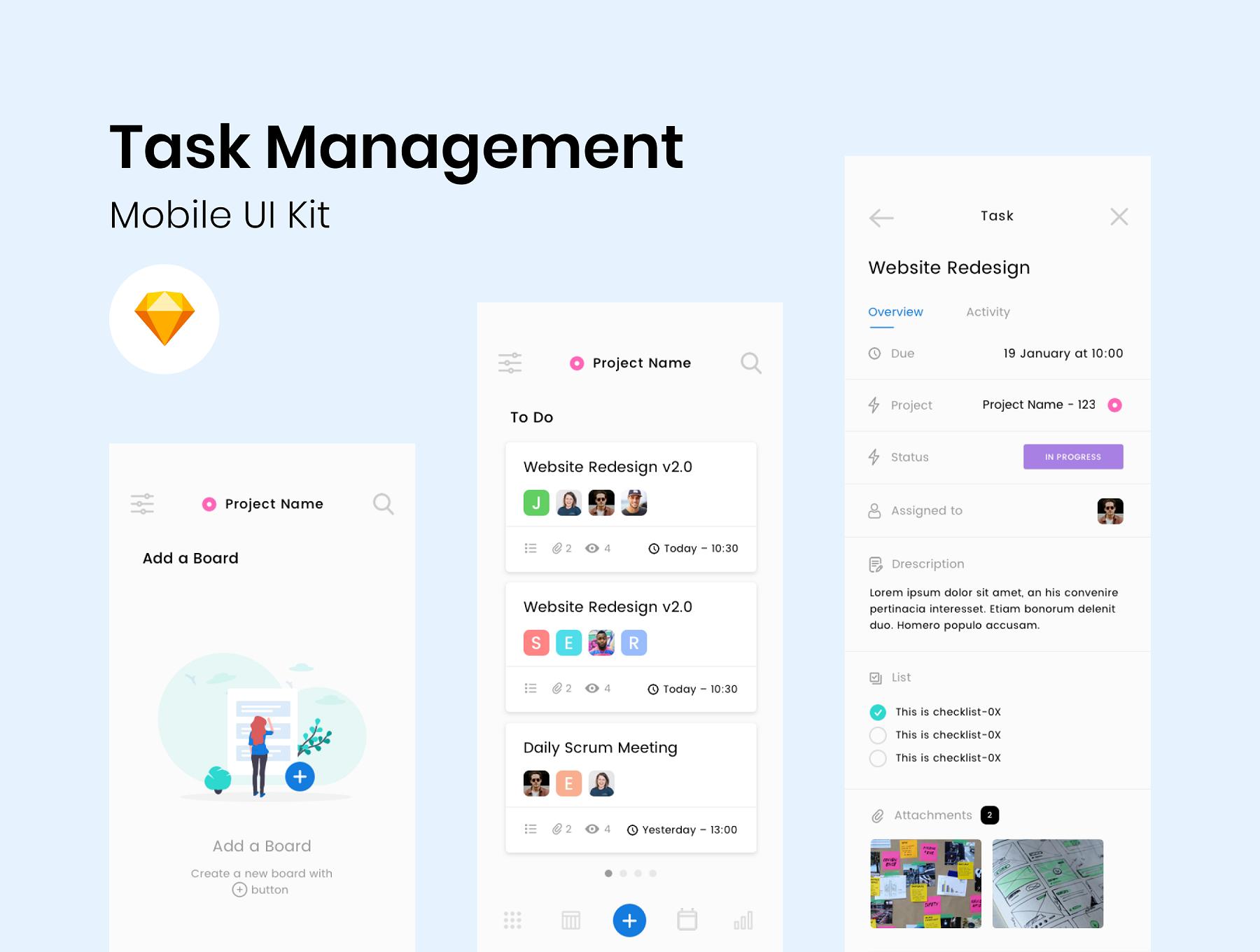 员工信息统计任务管理APP UI工具包 Task Management App UI插图