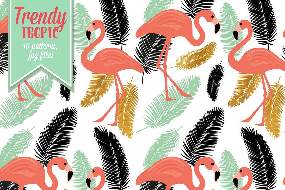 时尚夏季热带森林火烈鸟植物图案JPG合集 Trendy Tropic Patterns插图(1)