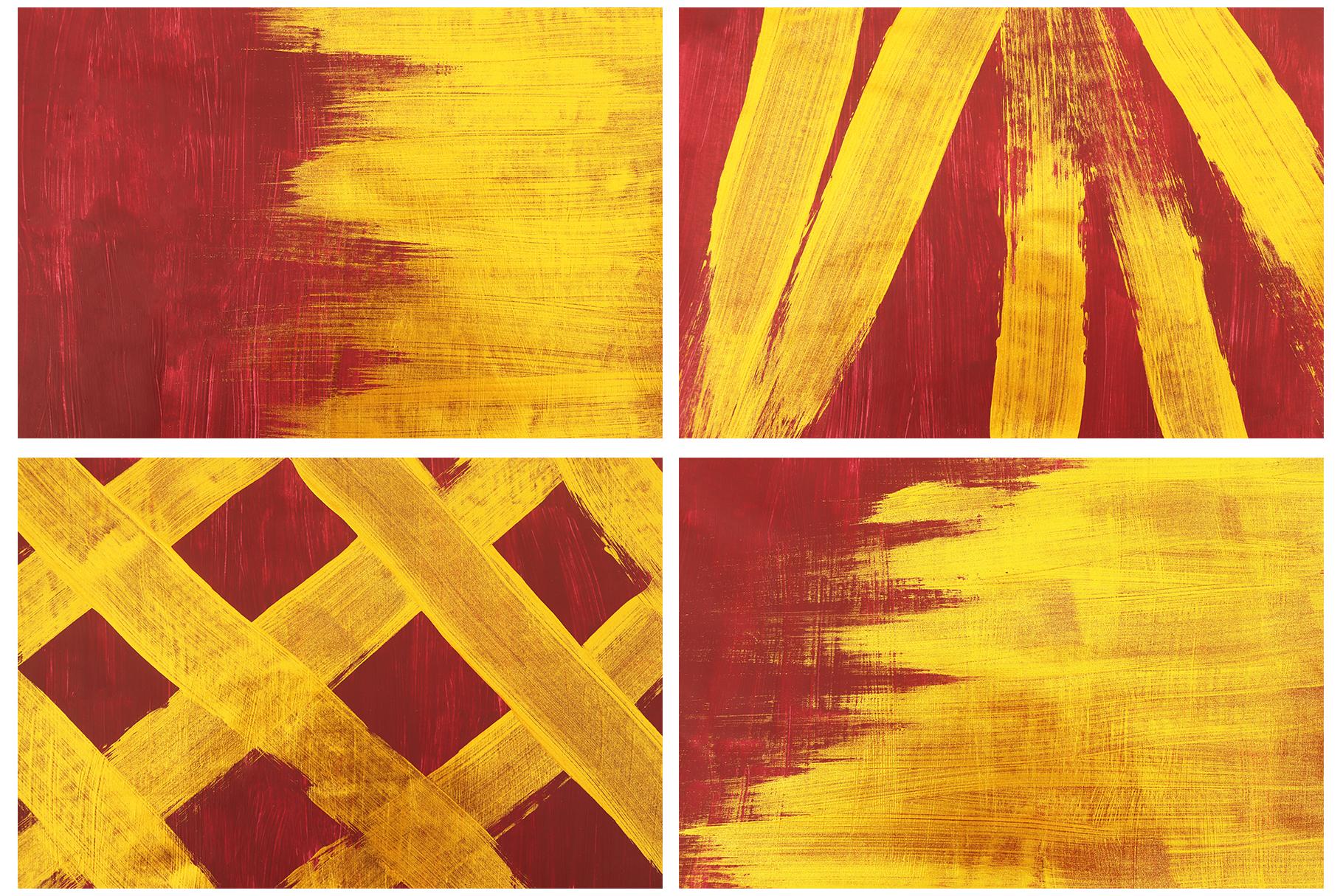 抽象手绘金色朱红漆背景纹理 Burgundy & Gold Abstract Backgrounds插图(2)