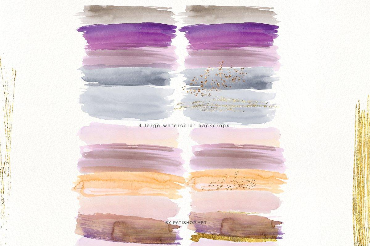 抽象手绘粉红色水彩带金边PNG背景纹理 Abstract Watercolor Backdrops & Strokes插图(3)