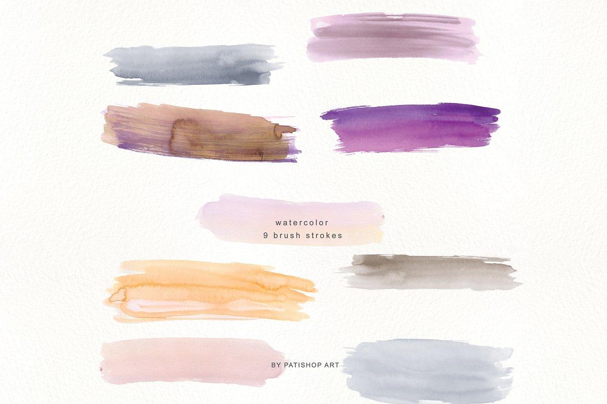 抽象手绘粉红色水彩带金边PNG背景纹理 Abstract Watercolor Backdrops & Strokes插图(4)