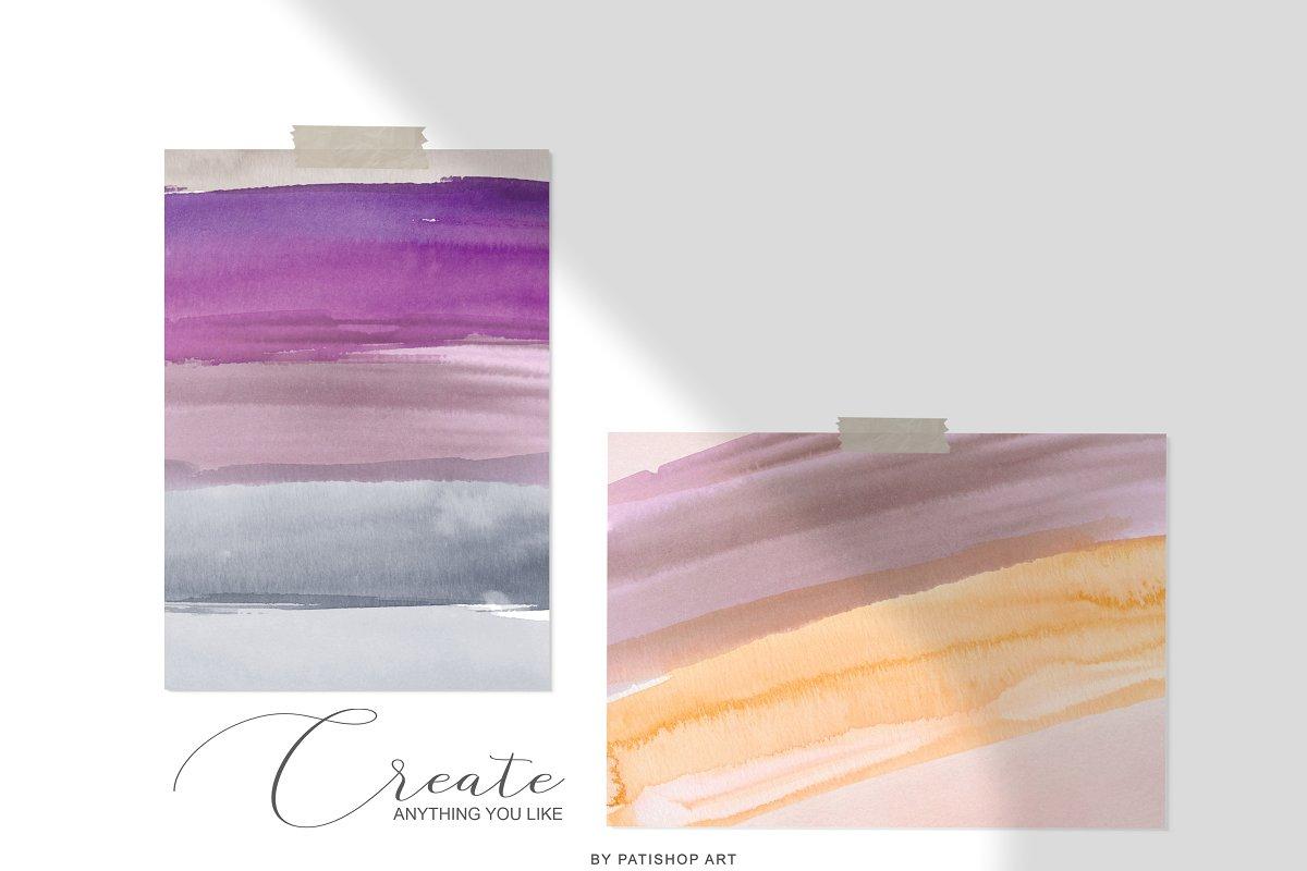 抽象手绘粉红色水彩带金边PNG背景纹理 Abstract Watercolor Backdrops & Strokes插图(7)
