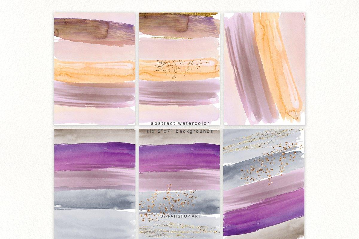 抽象手绘粉红色水彩带金边PNG背景纹理 Abstract Watercolor Backdrops & Strokes插图(8)