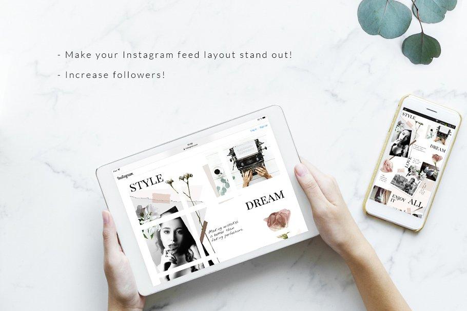 几何拼贴女性服装电商营销朋友圈广告海报INS风模板 Instagram PUZZLE template – Floral插图(3)