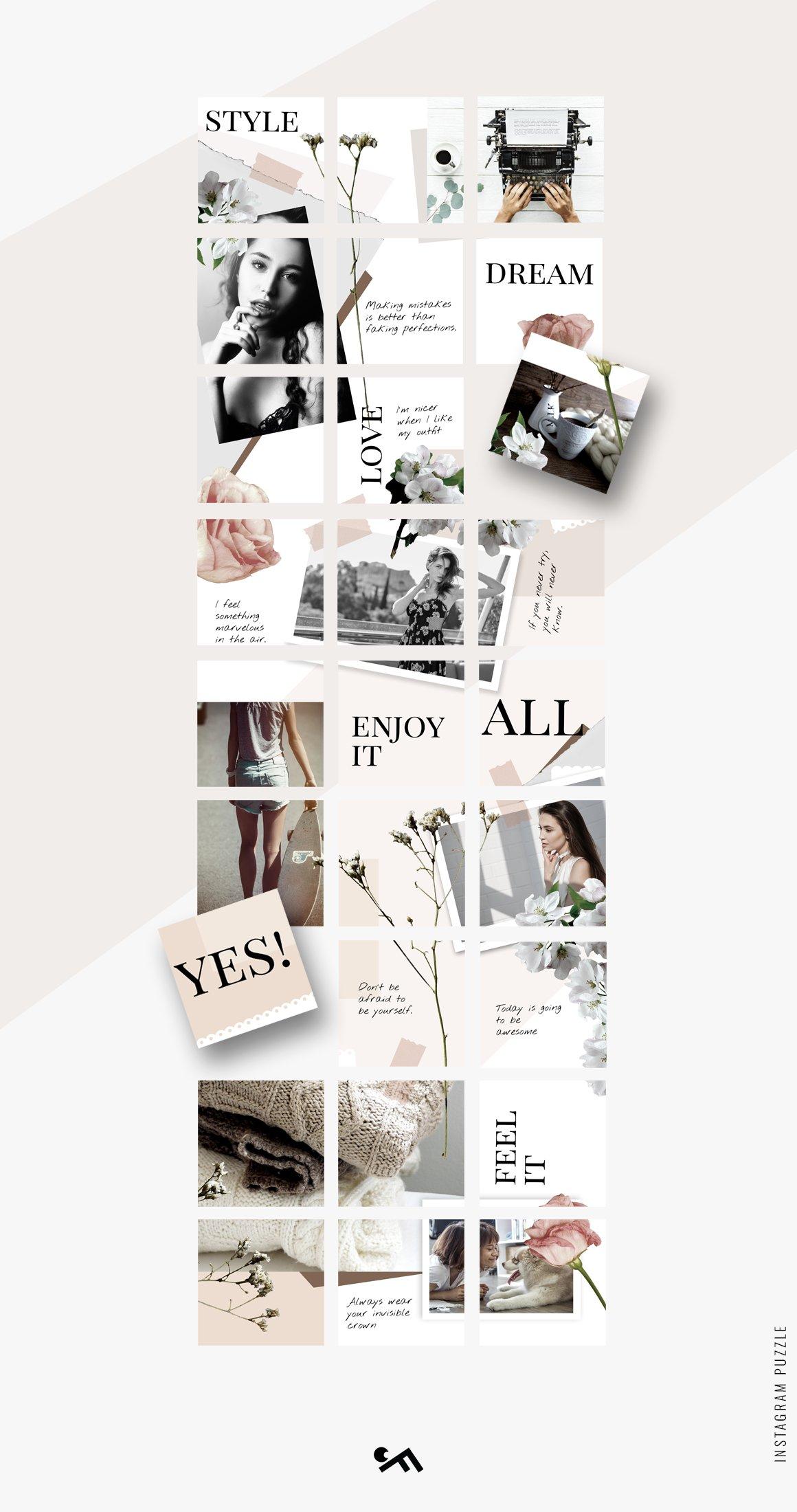 几何拼贴女性服装电商营销朋友圈广告海报INS风模板 Instagram PUZZLE template – Floral插图(1)