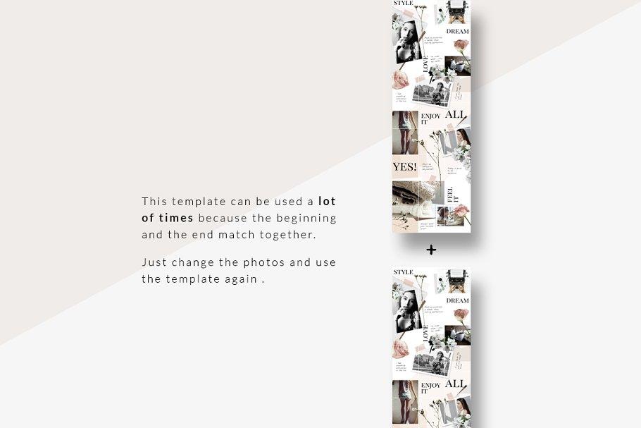 几何拼贴女性服装电商营销朋友圈广告海报INS风模板 Instagram PUZZLE template – Floral插图(5)