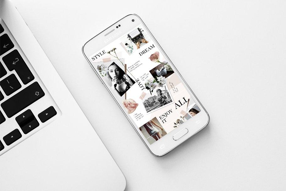 几何拼贴女性服装电商营销朋友圈广告海报INS风模板 Instagram PUZZLE template – Floral插图(2)
