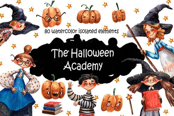 可爱手绘万圣节南瓜孩童魔杖水彩PNG画集 The Halloween Academy