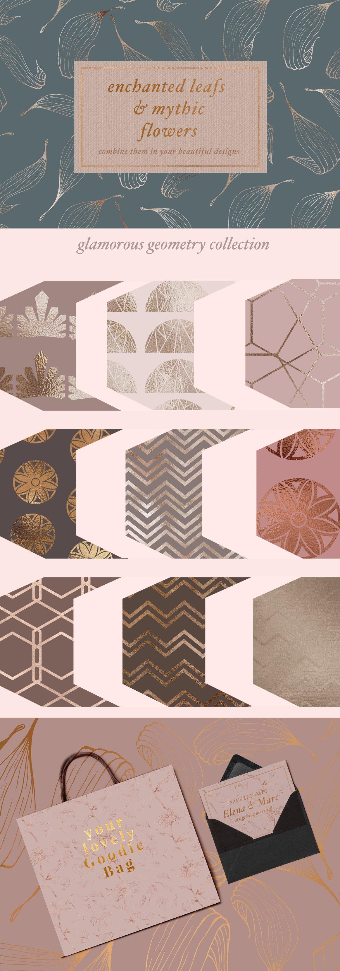 高品质的手绘花卉矢量插图&优雅数码纸纹理集合 70 Gold Patterns & Illustrations插图(6)