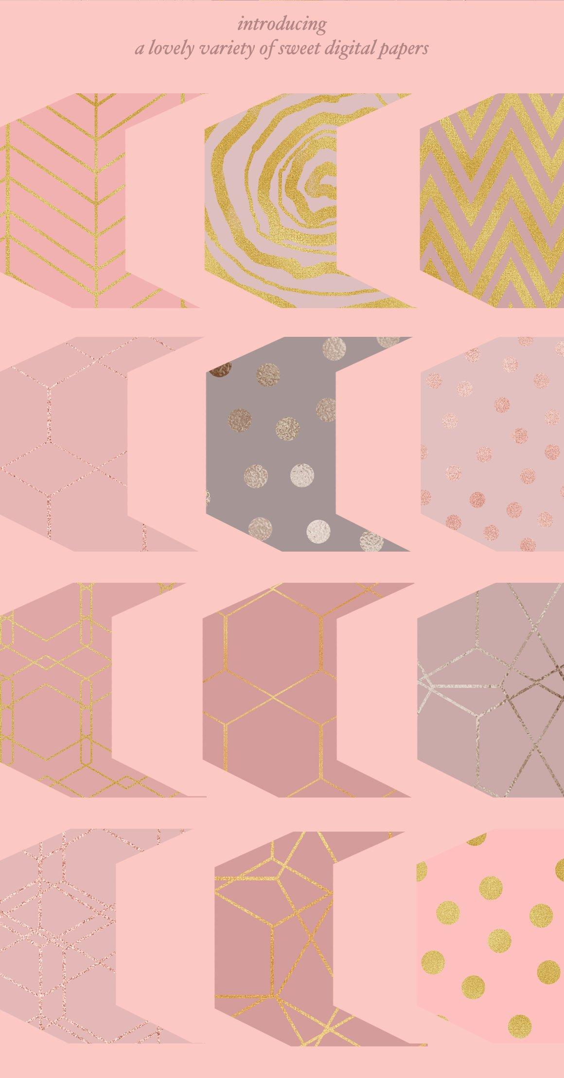 高品质的手绘花卉矢量插图&优雅数码纸纹理集合 70 Gold Patterns & Illustrations插图(3)
