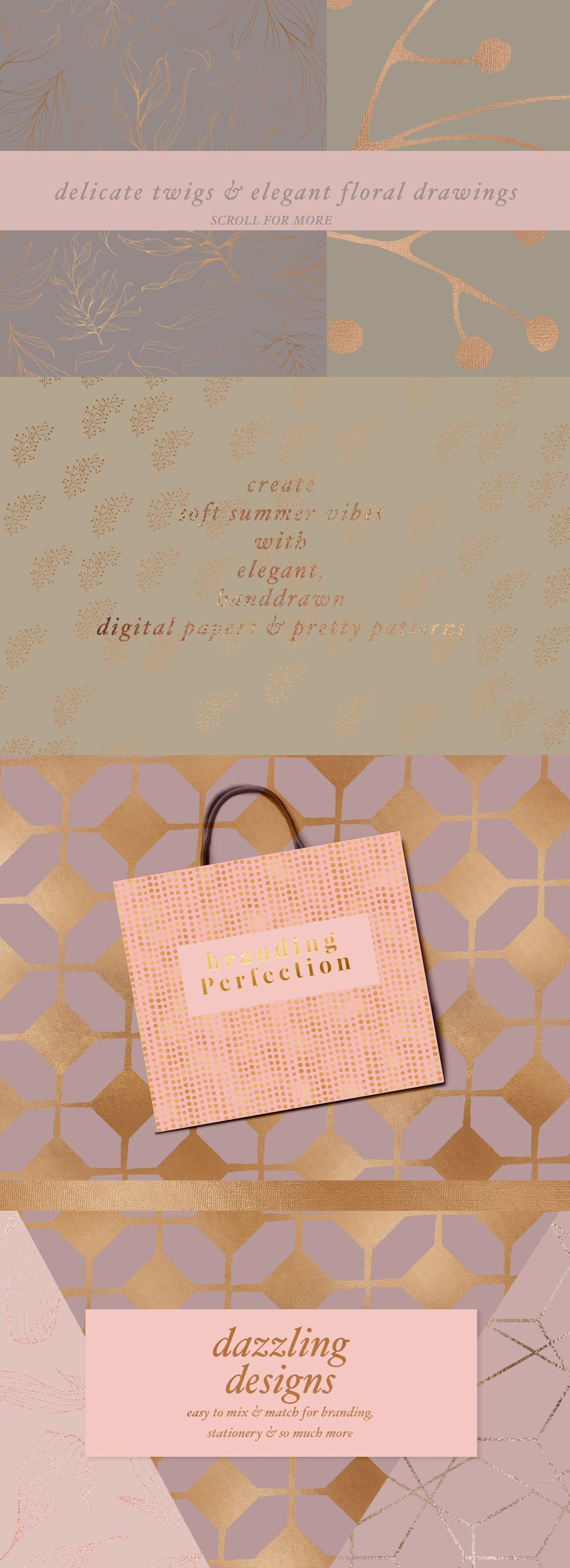 高品质的手绘花卉矢量插图&优雅数码纸纹理集合 70 Gold Patterns & Illustrations插图(1)