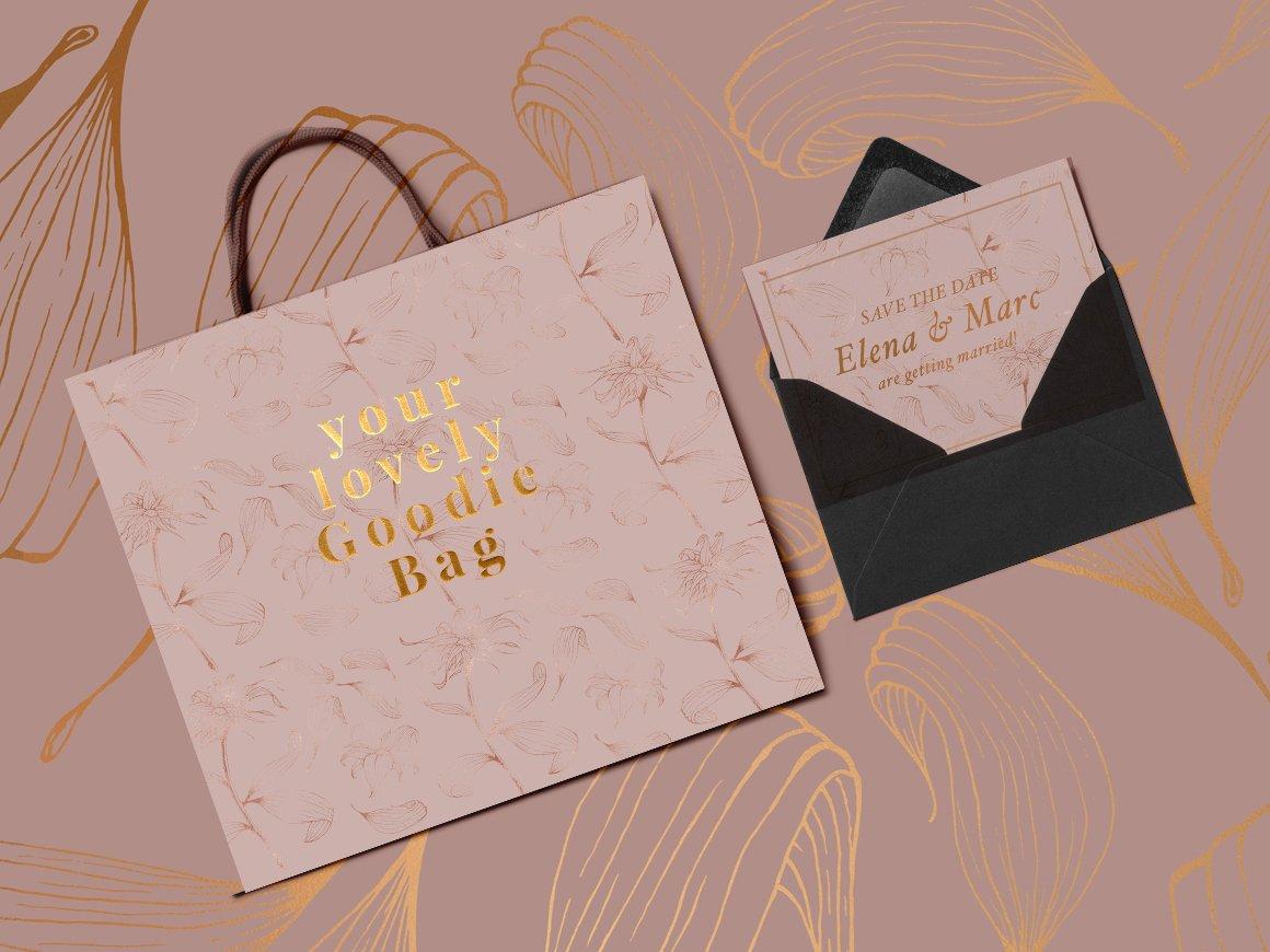 高品质的手绘花卉矢量插图&优雅数码纸纹理集合 70 Gold Patterns & Illustrations插图(5)