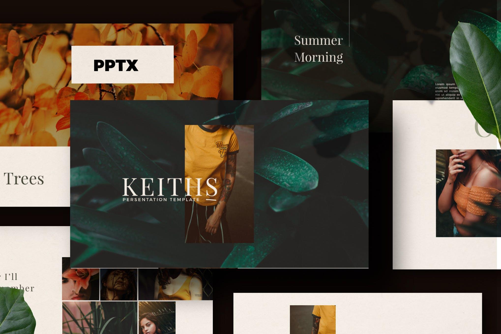 时尚简约女性服装营销设计师作品展示PPT模板KEY幻灯片SLIDES演示文稿 Keiths – Powerpoint, Keynote and Google Slides Templates插图