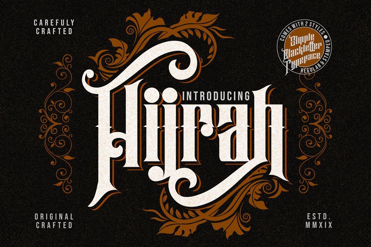 复古的服装徽标字体 Hijrah – Blackletter Typeface插图