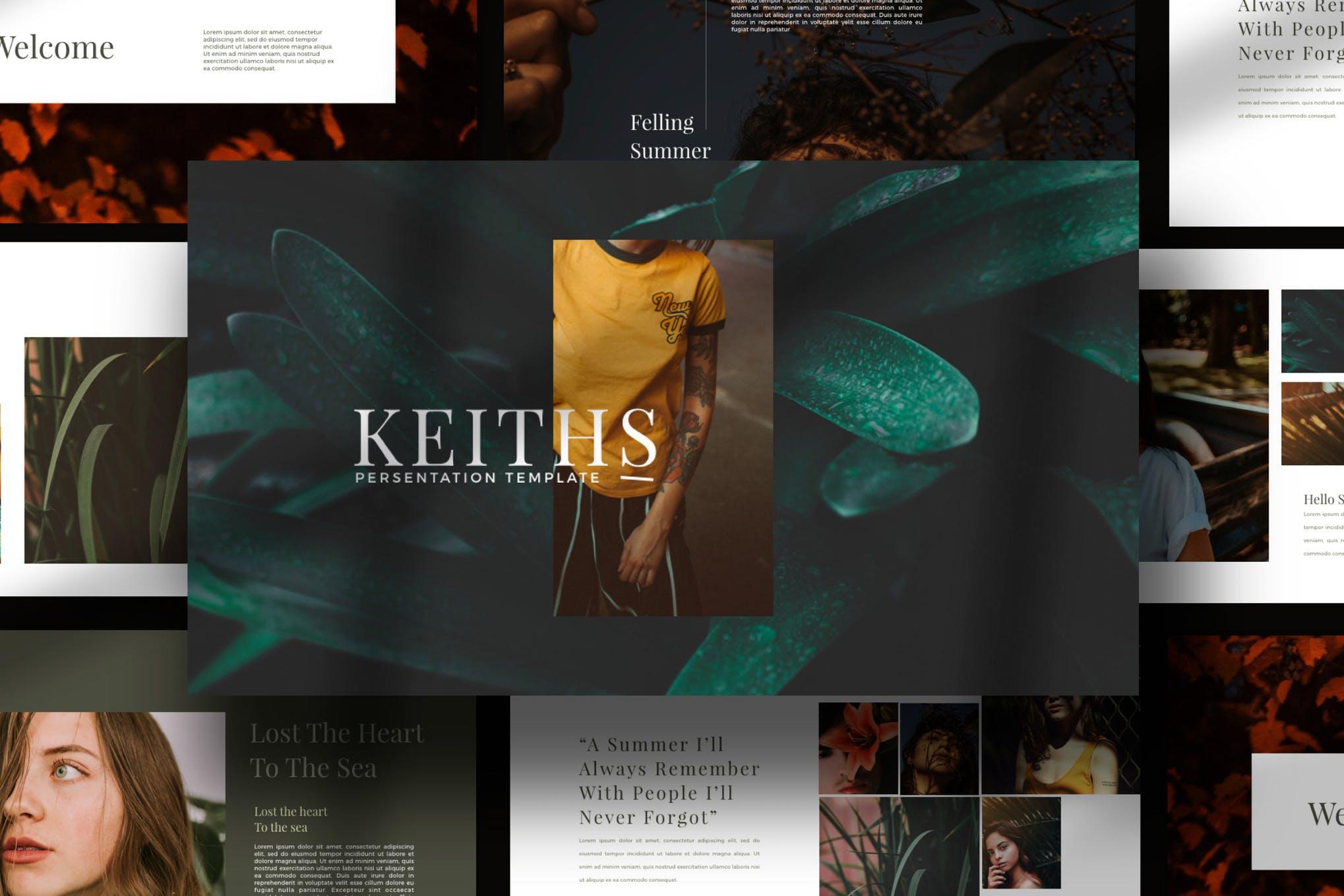 时尚简约女性服装营销设计师作品展示PPT模板KEY幻灯片SLIDES演示文稿 Keiths – Powerpoint, Keynote and Google Slides Templates插图(1)