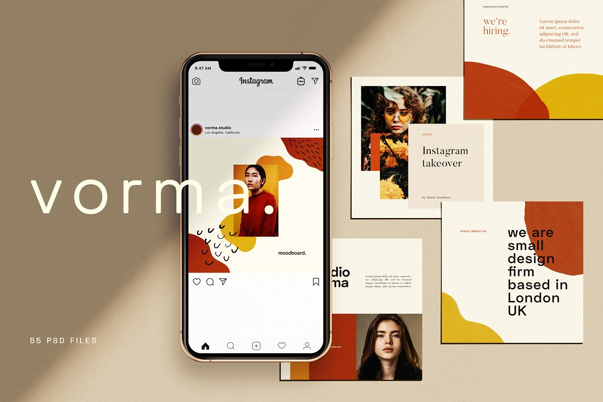 时尚几何图形装饰女性服装营销海报INS模板 VORMA – Instagram Square Template插图