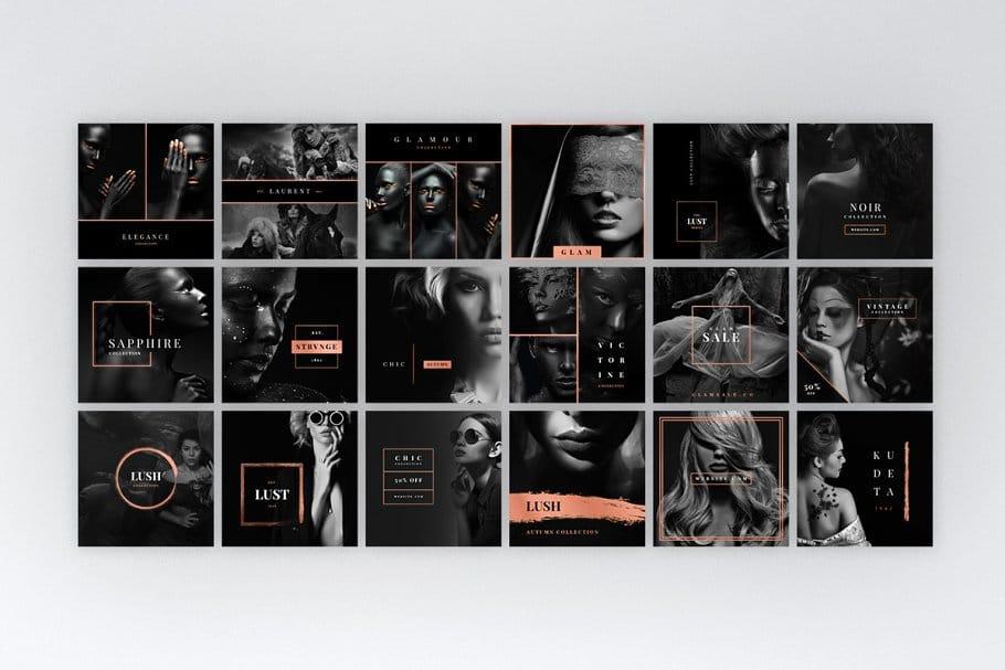 玫瑰金色女性服装营销INS海报模板 Instagram Rose Gold Pack插图(3)