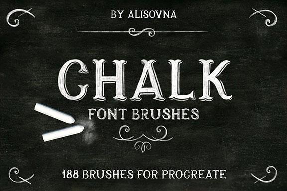 手绘粉笔字体效果Procreate笔刷 Procreate Chalk Font Brushes