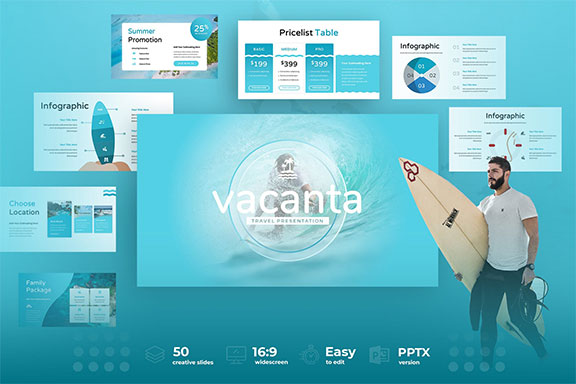 现代时尚产品营销个人简历PPT模板KEY幻灯片SLIDES演示文稿 Vacanta – Vacation Powerpoint, Keynote and Google Slides Templates