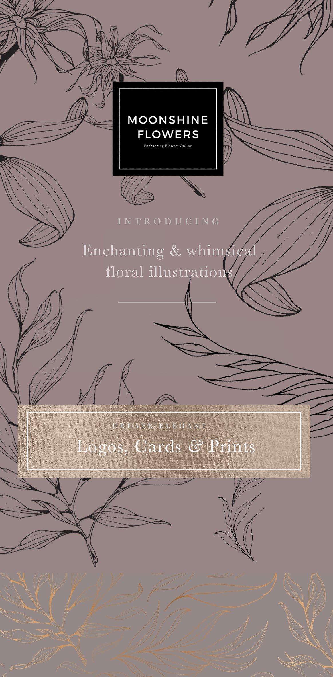 高品质的手绘花卉矢量插图&优雅数码纸纹理集合 70 Gold Patterns & Illustrations插图(2)