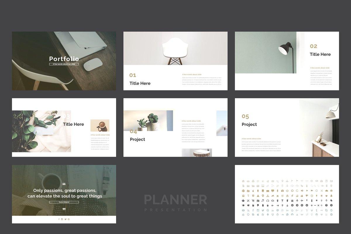 精美的设计师品牌作品艺术品展示PPT幻灯片KEY模板 Planner PowerPoint, Keynote Template插图(9)