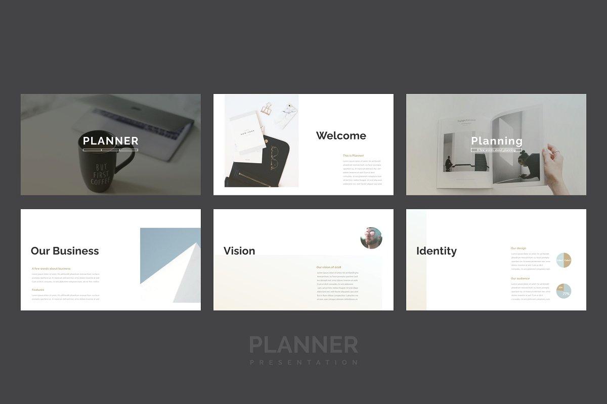 精美的设计师品牌作品艺术品展示PPT幻灯片KEY模板 Planner PowerPoint, Keynote Template插图(1)
