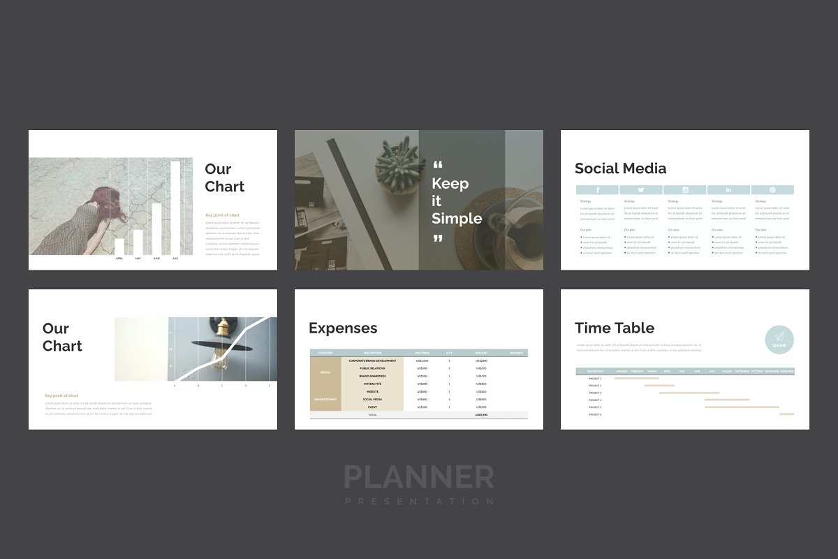 精美的设计师品牌作品艺术品展示PPT幻灯片KEY模板 Planner PowerPoint, Keynote Template插图(6)