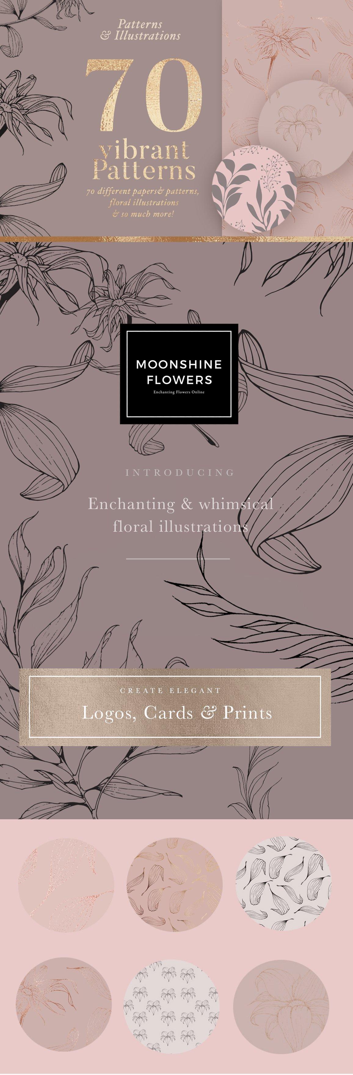 高品质的手绘花卉矢量插图&优雅数码纸纹理集合 70 Gold Patterns & Illustrations插图
