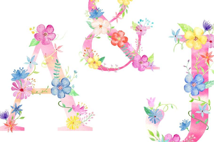 粉色少女心花卉装饰的大写字母A到Z图集 Pink Floral Alphabet A to Z插图(2)