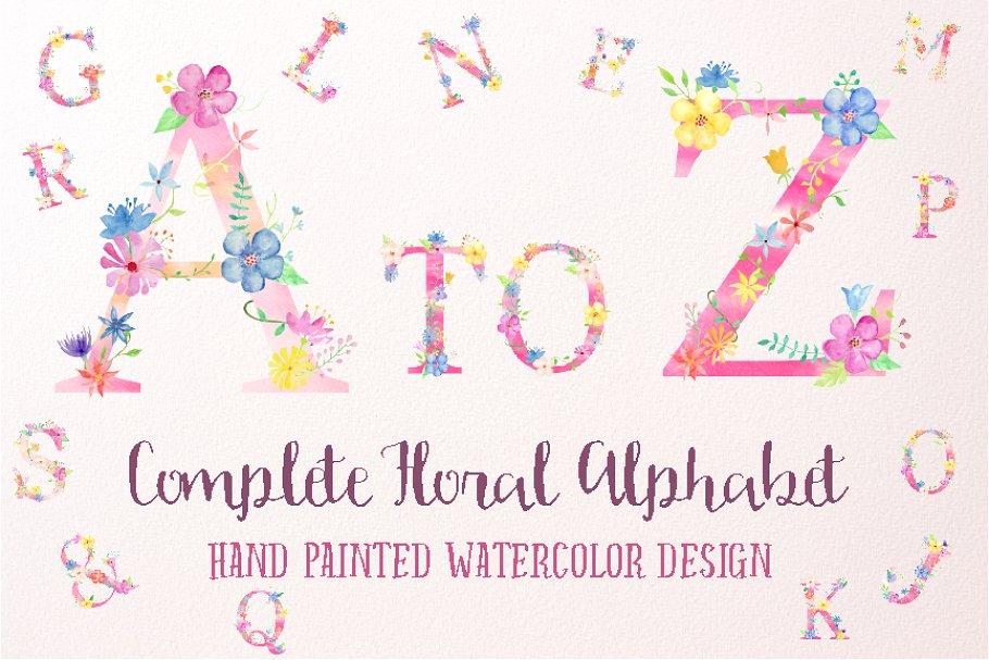 粉色少女心花卉装饰的大写字母A到Z图集 Pink Floral Alphabet A to Z插图