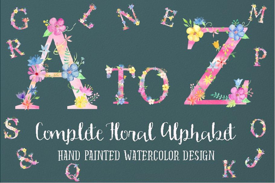 粉色少女心花卉装饰的大写字母A到Z图集 Pink Floral Alphabet A to Z插图(1)