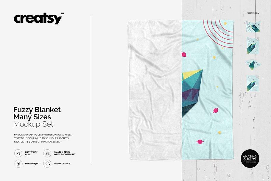 毛茸茸的毯子样机集 Fuzzy Blanket Mockup Set插图
