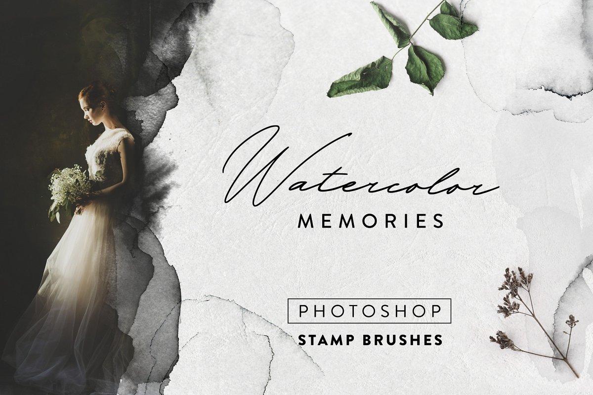 125款精致优雅手绘水彩纹理PS笔刷合集 Watercolor Brushes Memories – 125 Photoshop Brushes插图