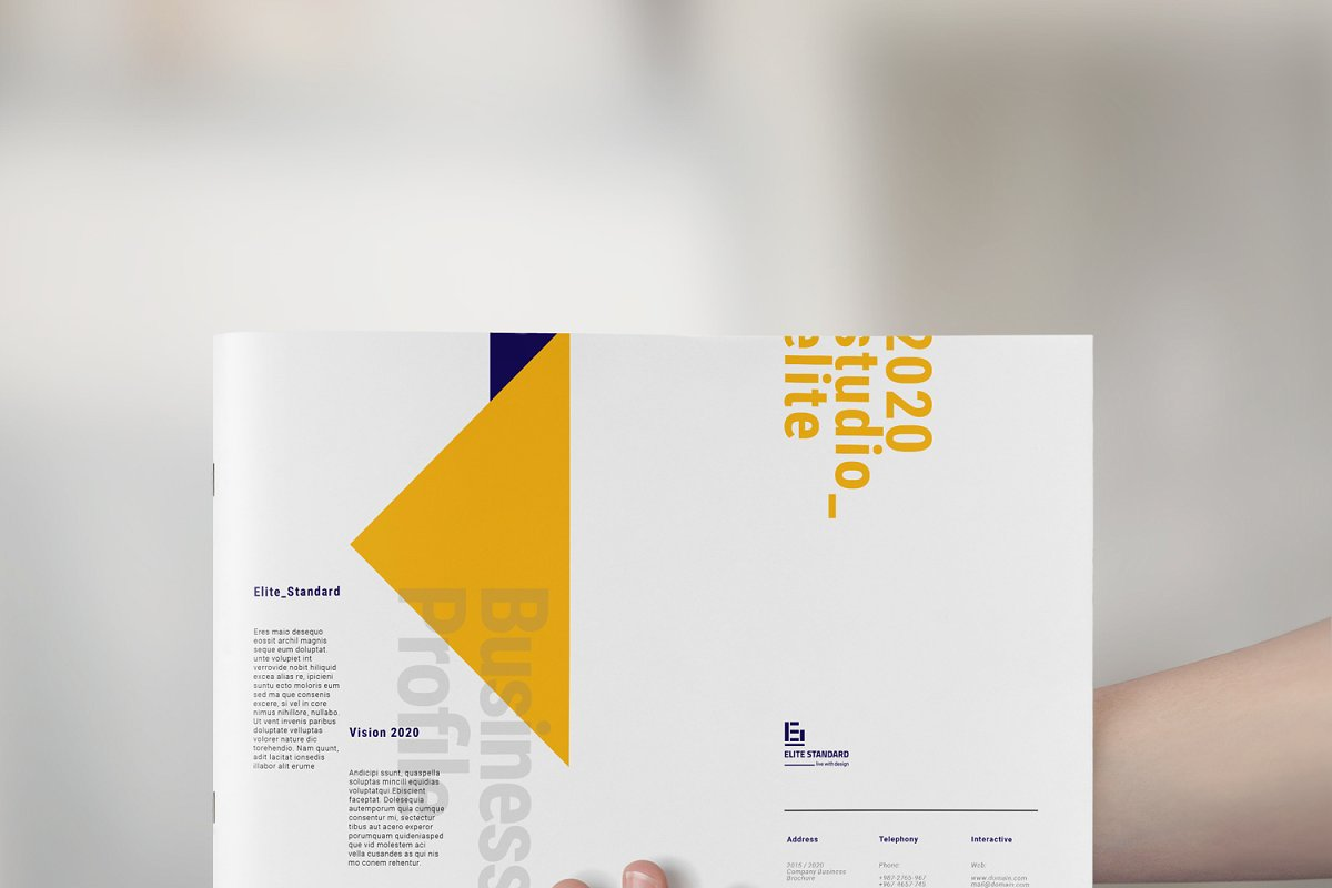 A4蓝黄色系企业介绍宣传手册INDD模板 Company Profile Pack插图(1)