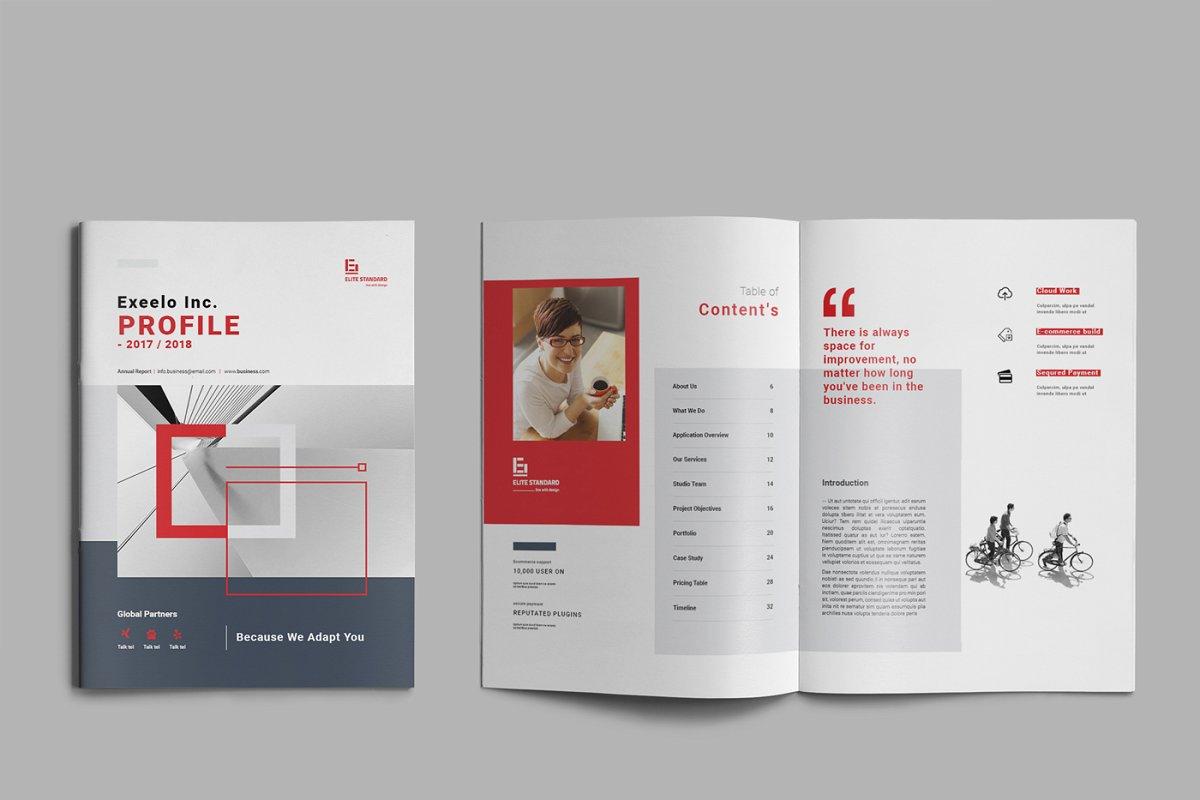 企业业务营销宣传册INDD模板 Exeelo Profile Brochure插图(2)