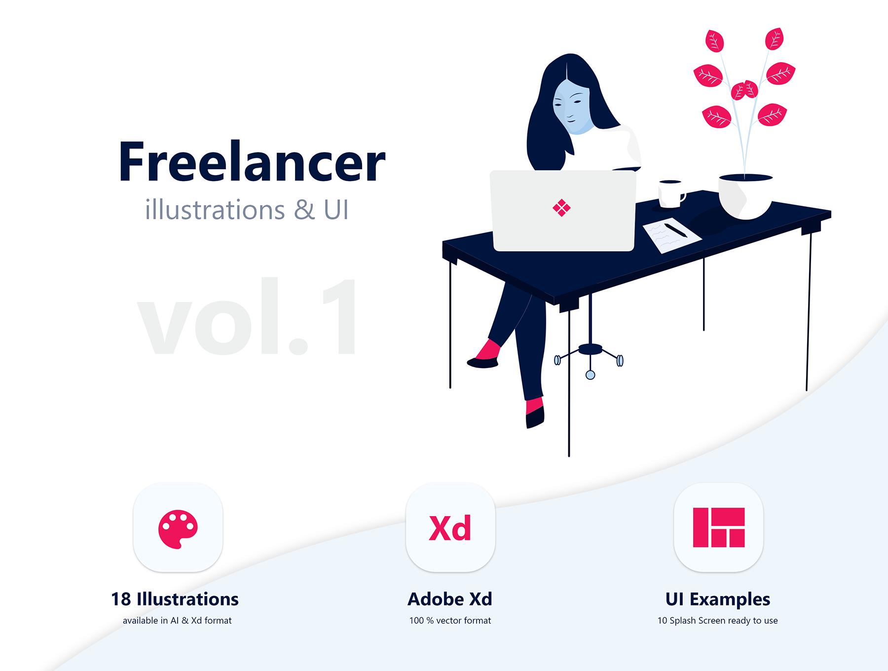 唯美的自由职业者矢量插图包Vol 01 Freelancer Illustration Pack Vol 01插图