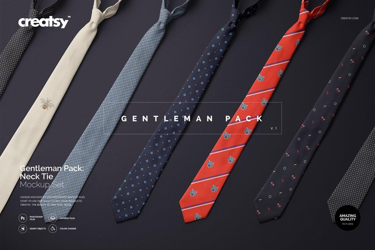 精美的多角度男士领带样机PSD模板 Gentelman Pack v.1: Tie Mockup Set插图
